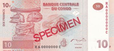 Congo 10 Francs 2003 UNC foto