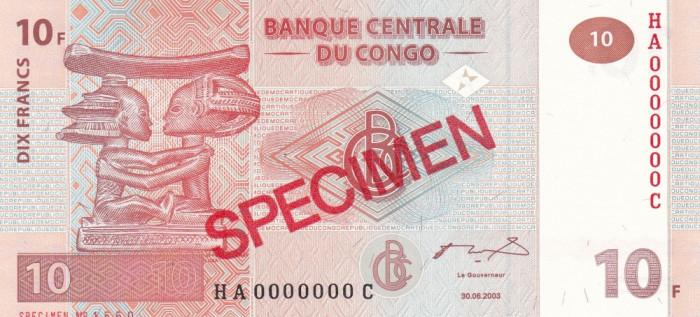 Congo 10 Francs 2003 UNC foto mare