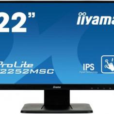 Monitor IPS LED IIyama 21.5inch T2252MSC-B1, Full HD (1920 x 1080), VGA, HDMI, DisplayPort, Boxe, Touchscreen, 7 ms (Negru), 21.5 inch