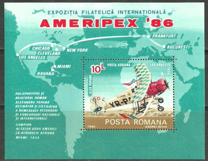 ROMANIA 1986 – AVION DE ACROBATIE AERIANA BUCKER, colita nestampilata TR127 foto mare