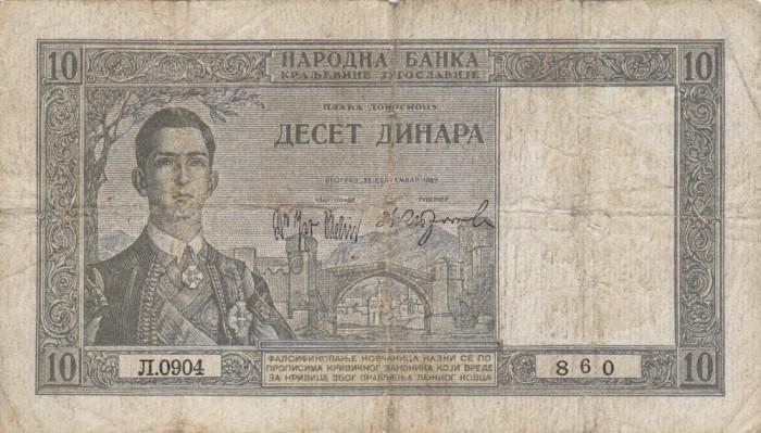 IUGOSLAVIA 10 dinara 1939 VF-!!! foto mare