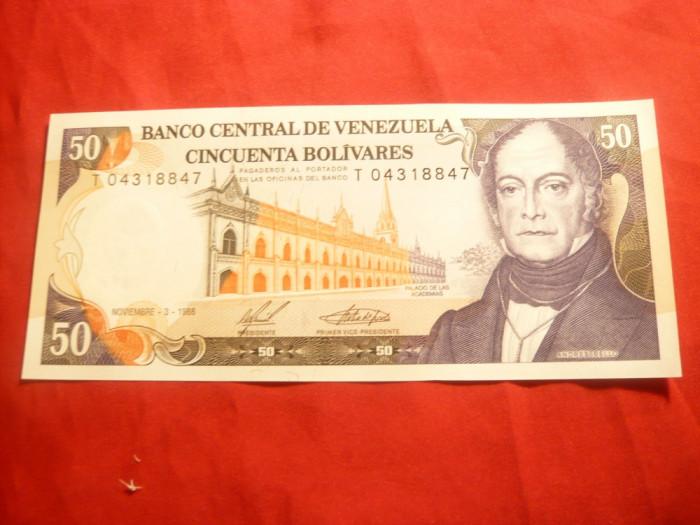 Bancnota 50 Bolivar 1988 Venezuela , cal. NC foto mare