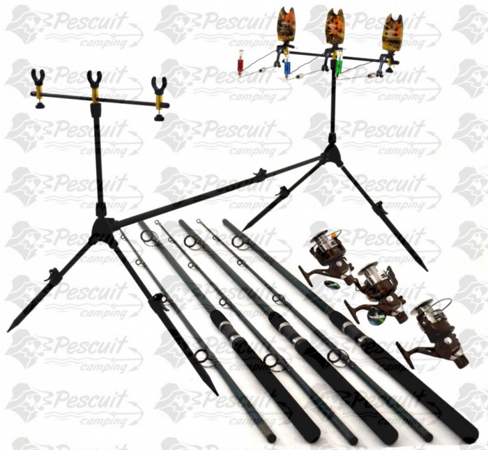 Set Economic Pescuit Lansete 2.7m Mulinete NBR 60 Si Rod Pod Full foto mare