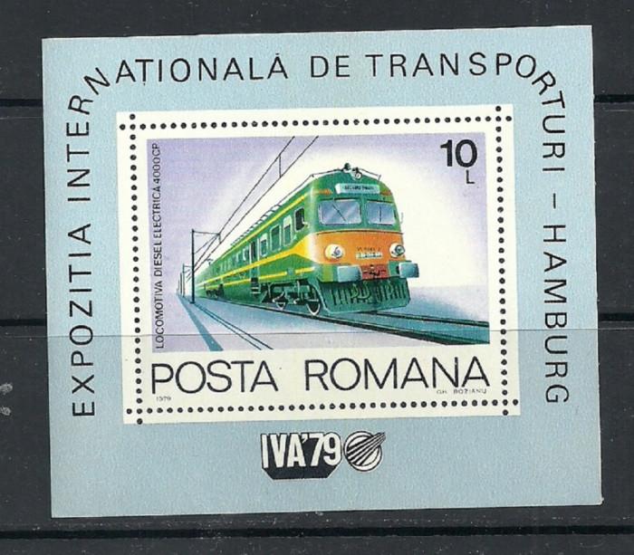 ROMANIA 1979 – LOCOMOTIVA ELECTRICA, colita nestampilata TR123 foto mare
