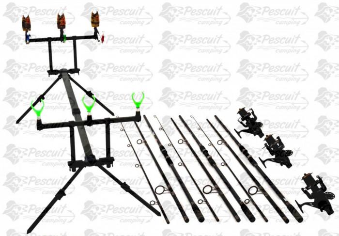 Kit Pescuit Complet Pescuit Crap 3.9m Cu Mulinete7000 Long Cast foto mare