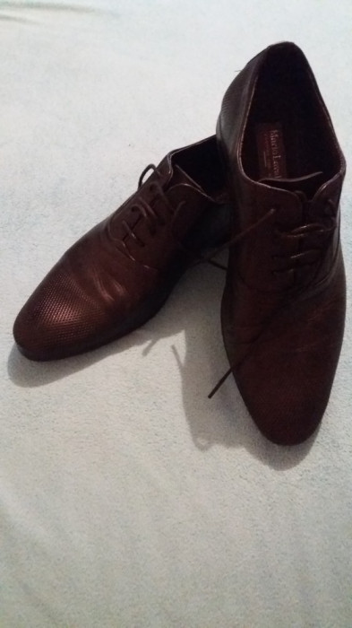 Pantofi barbati negrii Mario Lavalle cu sireturi foto mare