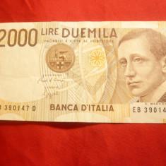 Bancnota 2000 Lire Italia 1990 , cal. f.buna