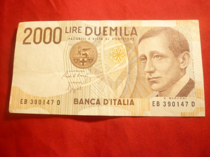 Bancnota 2000 Lire Italia 1990 , cal. f.buna foto mare