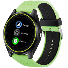 Ceas Smartwatch cu Telefon iUni V9 Plus, Touchscreen, 1.3 Inch HD, Camera 2MP, iOS si Android, Verde + Spinner Titirez Cadou