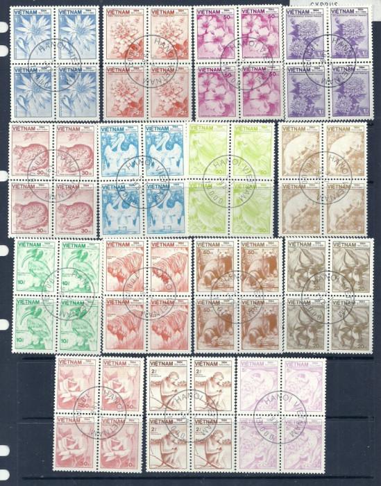 VIETNAM 1984 – FLORA SI FAUNA, blocuri stampilate, TR113