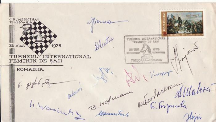 Plic sah - Turneu international feminin Timisoara 1975-semnaturi maestre sah foto mare