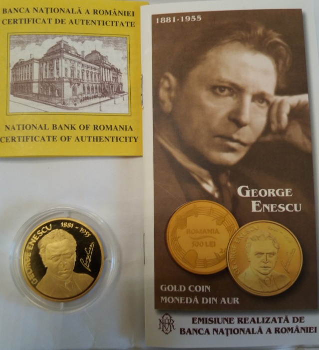 GEORGE ENESCU-MONEDA COMEMORATIVA DE AUR-O UNCIE,TIRAJ 250