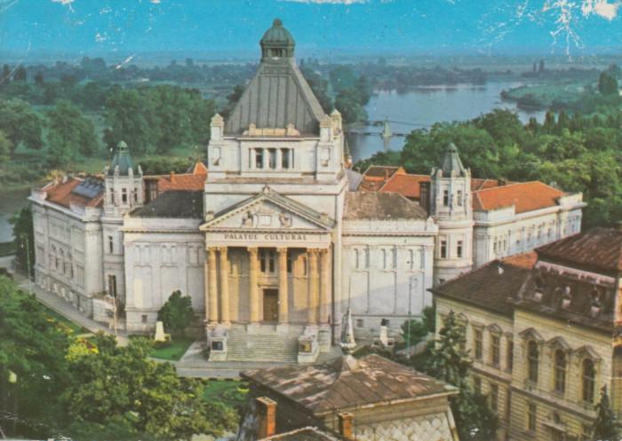 Vedere color, 104 x 147 mm, marca fixa, circulata, Palatul Cultural, Arad foto mare