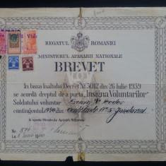 Brevet Insigna Voluntarilor// 1940, RARITATE