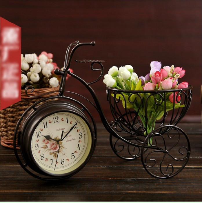 Bicicleta cu ceasuri si suport flori Ideal Gift foto mare