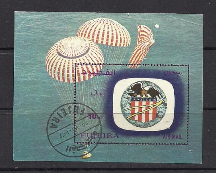 FUJEIRA 1972 – COSMOS APOLLO 16, colita stampilata, TR111 foto mare
