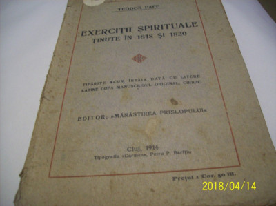 exercitii spirituale tinute in 1818 si 1820- teodor papp- 1913 foto
