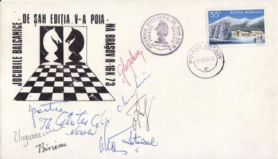 Plic sah - Jocurile Balcanice Poiana Brasov 1973-semnaturi maestri sah foto