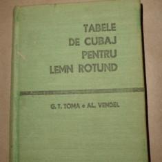 Tabele de cubaj pentru lemn rotund 344pag/format mic 10,5x14,5cman 1971