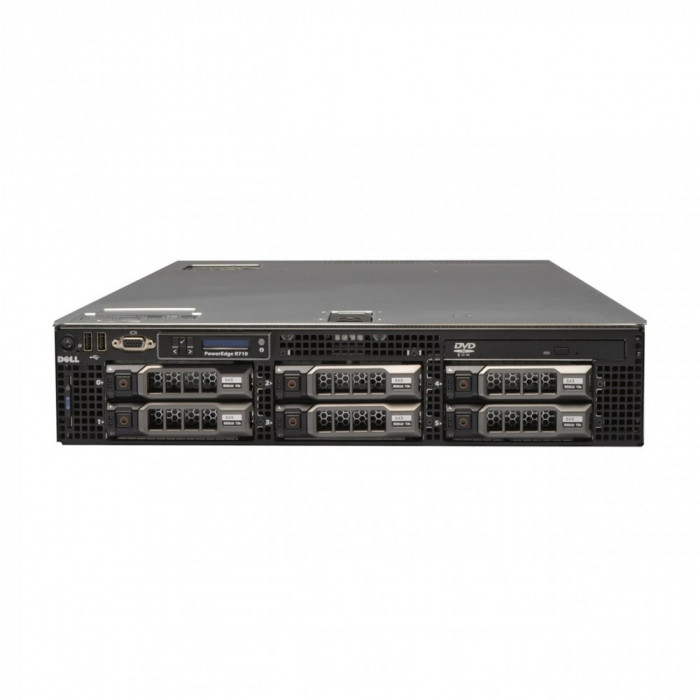 Server Dell PowerEdge R710, 2x Intel Xeon Quad Core E5504, 2.0GHz, 16GB DDR3 ECC, 2x 500GB SATA, Raid Perc 6i, Idrac 6 Express, 2 surse redundante