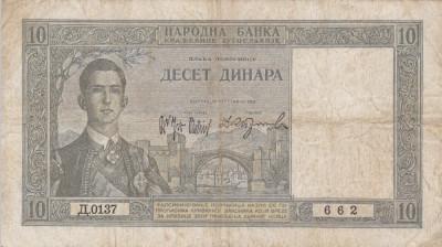 IUGOSLAVIA 10 dinara 1939 VF!!! foto