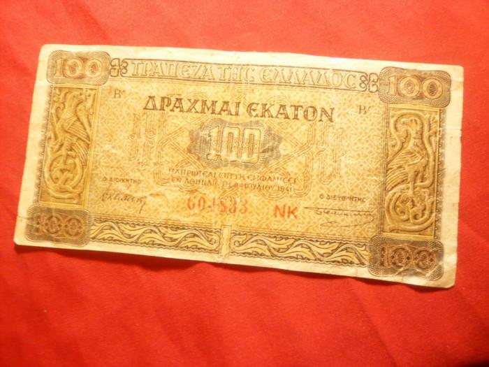Bancnota 100 drahme 1941 Grecia cal. mediocra foto mare