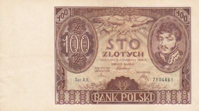 POLONIA 100 zloti 1934 VF+++!!! foto