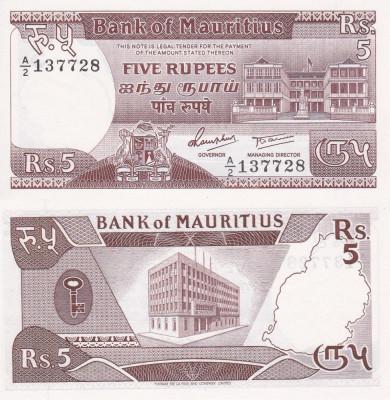 MAURITIUS 5 rupees 1985 UNC!!! foto