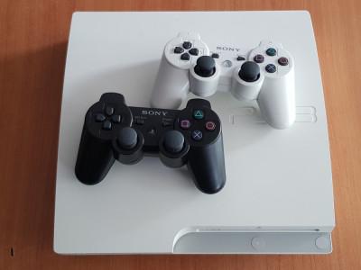 PS3 Slim White 320Gb CECH-3003B + 2 Controlere foto