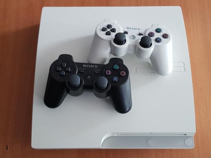 PS3 Slim White 320Gb CECH-3003B + 2 Controlere
