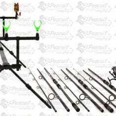 Kit Profi Crap 3 Lansete 3.9m, Mulinete Long Cast Si ROD POD Full Echipat - Set pescuit