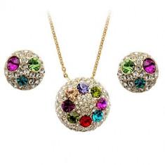 Set bijuterii cu zirconii Multicolor Globes