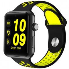 Ceas Smartwatch Telefon iUni DM09 Plus, Camera, BT, 1.54 inch, Yellow + Spinner Titirez Cadou
