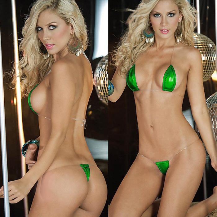 Mini Costum de Baie Set Bikini Sutien Bretele Invizibil Metalic Lady Lust Sexy