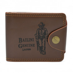 Portofel Bailini pentru barbati, Model Cowboy, calitate Premium, culoare Maro