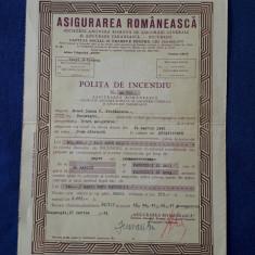 """Polita de asigurare """" Asigurarea Romaneasca """" - 1942"""