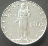 Moneda 10 LIRE - VATICAN, anul 1951   *cod 4352 - ALLU., Europa, Aluminiu