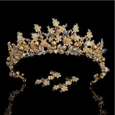 Diadema,tiara aurie cu pietre si cristale+cercei