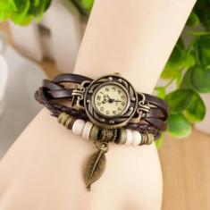 Ceas de dama Retro Vintage, curea din piele, accesoriu frunza, culoare Maro - Ceas dama