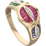 Inel vintage cu diamante, rubine, safire si smaralde, aur 14K