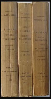 Histoire ecclesiastique/ Eusebius Istoria ecleziastica ed. bilingva gr-fr 3 vol. foto