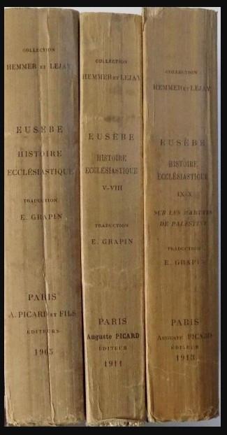 Histoire ecclesiastique/ Eusebius Istoria ecleziastica ed. bilingva gr-fr 3 vol. foto mare
