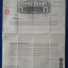 Polita de asigurare imobil - 1888 - Piesa Rara