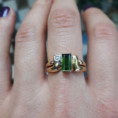 Inel aur 18K cu turmalin si diamant, 3, 8g, designer, certificat, Culoare: Galben
