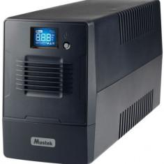 UPS Mustek PowerMust 600 Line Interactive LCD, 600VA/360W, 2 x Schuko, USB (Negru)