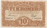 DANEMARCA 10 KRONER COROANE 1943 F