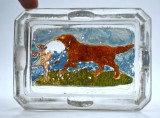 Scrumiera veche din sticla perioada Art Nouveau - scena vanatoare, caine si rata