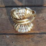 Inel aur 18K, diamante veritabile 0,3ct, vintage, Franta, certificat