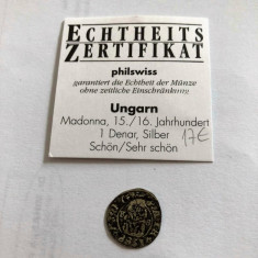 MONEDA ARGINT UNGARIA 1 DENAR 1588 cu Certificat, Europa, An: 1558