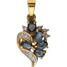 Pandantiv aur cu diamante si safire naturale, 2, 5cm x 1, 3cm, 2, 5g